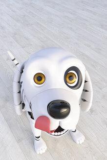 Roboterhund, 3D Rendering, digital generiert, Roboter, Roboterhund, Hund, Tier, Technologie, Innovation, Zukunft, Vision, Helfer, glücklich, zufrieden, Freude, Portrait, Humor, Haustier, Freund, Tierportrait, Zunge, lachen, Digitalisierung, Freiheit, Glück, Lebensfreude, Spaß, Textfreiraum, Innenaufnahme, Vertikal - AHUF00556
