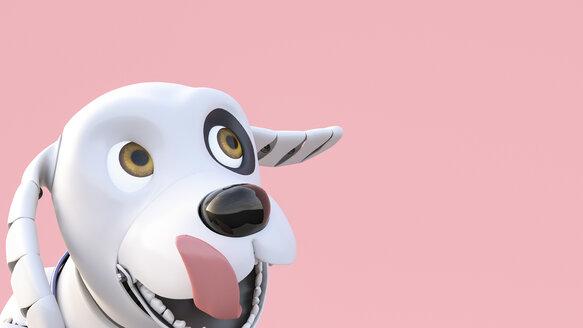 Roboterhund, 3D Rendering, digital generiert, Roboter, Roboterhund, Hund, Tier, Technologie, Innovation, Zukunft, Vision, Helfer, glücklich, zufrieden, Freude, Portrait, Humor, Haustier, Freund, Tierportrait, Zunge, lachen, Ohren, schlackernd, Digitalisierung, Freiheit, Glück, Lebensfreude, Spaß, Textfreiraum, Innenaufnahme, Horizontal - AHUF00559