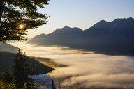 Germany, Upper Bavaria, Werdenfelser Land, Wallgau, Isar Valley at sunrise, view from Krepelschrofen - SIEF08393