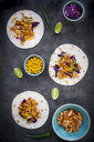 Wraps with marinated jackfruit, maize, red cabbage, coriander, lime and chili - LVF07703