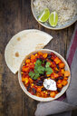 Bowl of Chili sin Carne, rice and flat bread - LVF07706