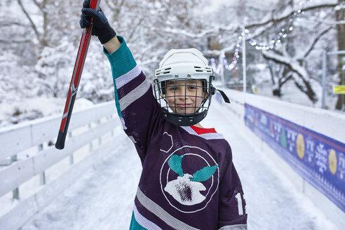 Serbia, Novi Sad, Ice skating, Boy, Hockey - ZEDF01866
