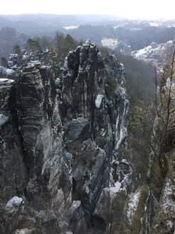 Germany, Saxony, Saxon Switzerland, Bastei area in winter - JTF01171
