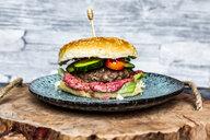 Hamburger with beetroot hummus, cucumber, tomato and salad - SARF04065