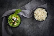 Green thai curry with spinach, pak choi, tofu, sour cream, black sesame and jasmine rice - LVF07722
