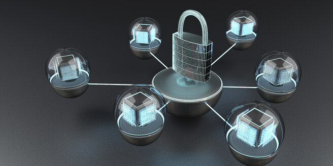The data is protected and locked, 3D Illustration - ALF00743