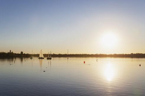 Germany, Saxony, Leipzig, Lake Cospuden at sunset - GWF05834