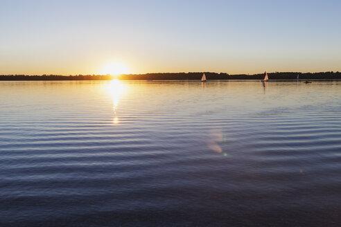 Germany, Saxony, Leipzig, Lake Cospuden at sunset - GWF05837