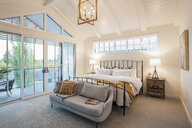 Home showcase interior bedroom with vaulted ceiling and patio - HEROF10195