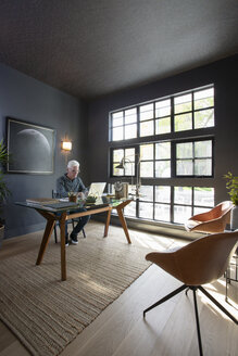 Senior man working at laptop in modern home office - HEROF10800