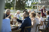 Friends enjoying celebratory toast at garden party table - HEROF11742