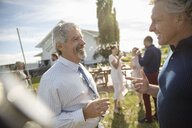Friends talking, drinking wine at wedding reception in sunny rural garden - HEROF11775