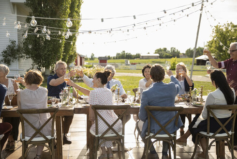 Friends celebrating, toasting wine glasses at sunny garden party table - HEROF11781