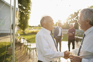 Senior men shaking hands at wedding in sunny rural garden - HEROF12660