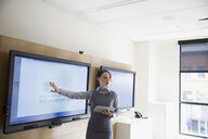 Businesswoman with digital tablet leading meeting at television in conference room - HEROF13149