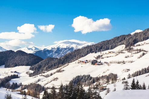 Italy, Trentino Alto-Adige, Val di Funes, Santa Maddalena on a sunny winter day - FLMF00114