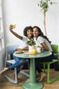 Two happy girlfriends sitting at table taking a selfie - GIOF05631