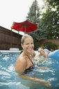 Portrait smiling mother with family in swimming pool - HEROF13810
