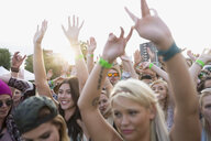 Young crowd cheering at summer music festival - HEROF14143