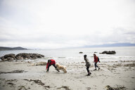 Family with dog playing on rugged beach - HEROF14293