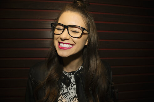 Portrait confident, enthusiastic, laughing female millennial - HEROF14521