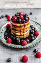 Pancakes with blueberries, raspberries and black currant sirup - SARF04072
