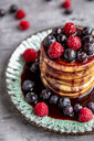 Pancakes with blueberries, raspberries and black currant sirup - SARF04075