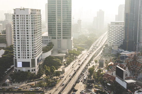 Thailand, Bangkok, aerial view of highway and skyscrapers in the city - WPEF01344