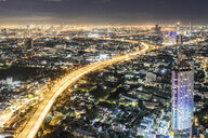 Thailand, Bangkok, aerial view of the city at night - WPEF01356