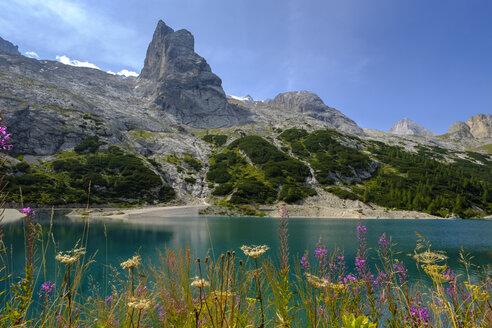 Italy, South Tyrol, Dolomites, Marmolada, Lake Lago di Fedaia - LBF02336