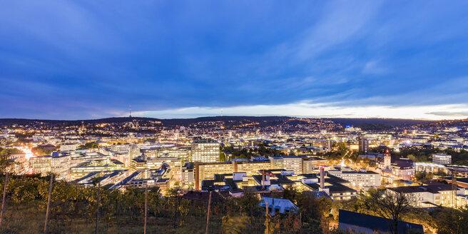 Germany, Stuttgart, cityscape at twilight - WDF05068