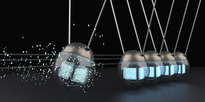 Data swinging in a Newton's cradle - ALF00746