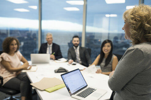 Businesswoman leading conference room meeting - HEROF15250