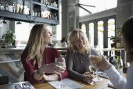 Women friends drinking wine, dining in restaurant - HEROF15412