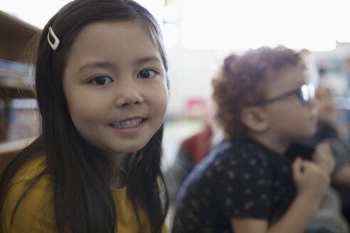 Portrait smiling, confident preschool girl - HEROF16006