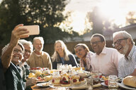 Smiling senior friends posing for selfie at garden party lunch at sunny patio table - HEROF16546