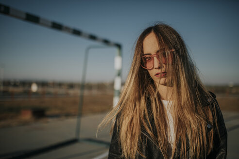 Pozoblanco, Cordoba, Spain, Urban girl with long hair, youth culture - DMGF00009