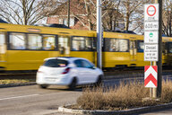 Germany, Fellbach, low-emission zone sign for Stuttgart, driving ban for diesel cars - WDF05074