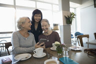 Smiling active senior women friends using smart phone and drinking coffee in cafe - HEROF17061