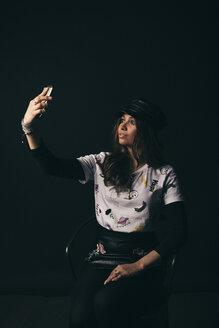 Renaissance portrait stylish young female millennial taking selfie - HEROF17259