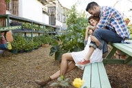 Affectionate couple hugging on bench in plant nursery - HEROF18355
