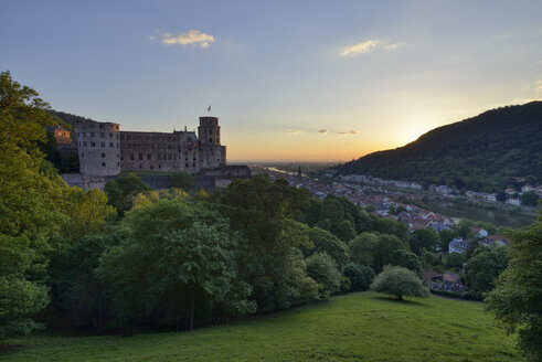 Heidelberg Castle with Neckar River and Old Bridge, Bade. Wurttemberg, Germany - RUEF02089