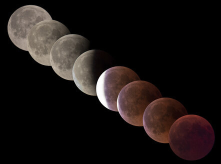 Germany, Brandenburg, Landkreis Havelland, composite sequence of total lunar eclipse of July 27, 2018, colors and phases - THGF00070
