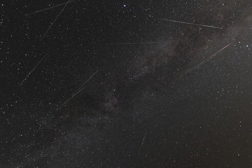 Germany, Hesse, Hochtaunuskreis, Perseid meteors during shower on August 12 with milky way in background - THGF00073