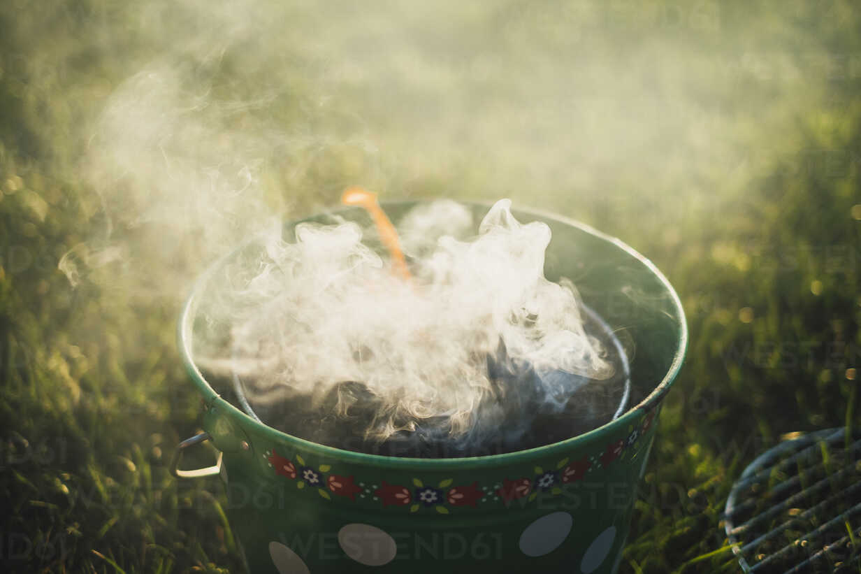 Smoking grill on a meadow - JSCF00122 - Jonathan Schöps/Westend61