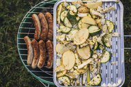 Barbecueing sausages and vegetables on a meadow - JSCF00131