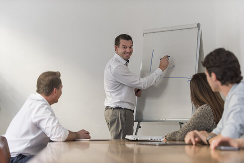 Smiling businessman leading a presentation at flip chart in office - PAF01879