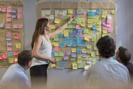 Colleagues discussing with sticky notes at wall in office - PAF01885