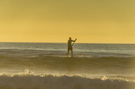 USA, California, Del Mar, Stand up paddle surfing in the evening - RUNF01130
