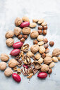 Walnuts and almonds in shell, hazelnuts and red peanuts - CUF48743